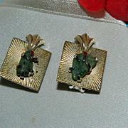 Rare! Art Deco Coro Jade Stone Earrings