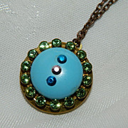 Handsome Art Deco Enamel Rhinestone Locket  ~ Victorian Revival
