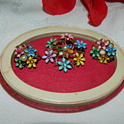 Beautiful 1940's Delicate Floral Brooch Earring Set ~ Enamel Pastels