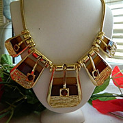 Huge 1980's Enamel Rhinestone Buckle Motif Bib Necklace