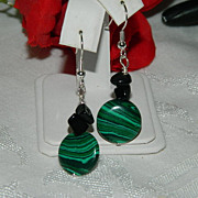 Vivid Malachite & Black Chalcedony Earrings w/Sterling Hooks