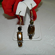 Hand Made Tiger Eye Earrings Sterling Findings