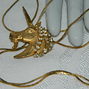 Stunning Rhinestone Unicorn Lariat Necklace  ~ 32""