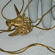 "Stunning Rhinestone Unicorn Lariat Necklace  ~ 32"""