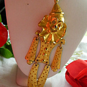 "Huge Happy Gold Tone Clown Pendant ~ 5.5"" Articulated"