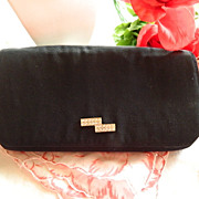 Elegant French Black Rhinestone Handbag  ~ Marked Paris GI