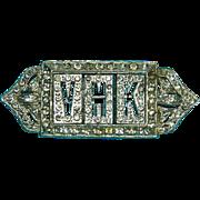 Coro Book Piece! Gene Verecchio Designer Paste Stone Initial Brooch ~ Pat Pend 108468