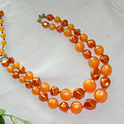 Luscious Orange Moonglow Beaded Double Strand Necklace