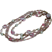 Western Germany Multi Strand Art Glass Necklace in Pinks