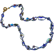 Rich Cobalt Blue Carnival Glass Opaline Glass Twisted Three Strand Necklace