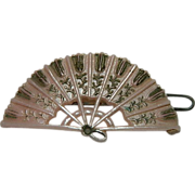 Older Soft Pink Molded Celluloid Fan Hair Barrette