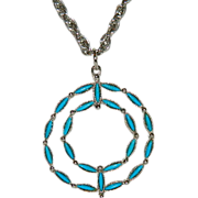 Stunning Roma Native Petite Point Turquoise Circle Pendant on Long Chain