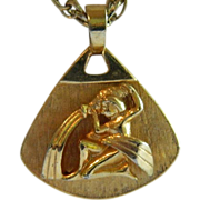 Classic Vintage Water Bearer Pendant on Heavy Chain
