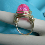 "Original by Jackie ""O"" Cotton Candy Crackle Glass Wrapped Ring"