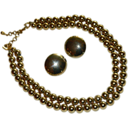Married Monet Gold Tone Beaded Double Strand Necklace & Marino Button Earrings