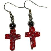 Pretty Venetian Millefiori Cross Earrings