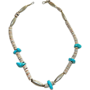Genuine Native American Sterling Turquoise Heishi Bead Necklace