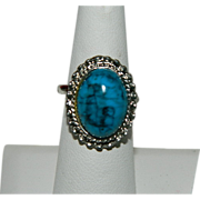 Adjustable Faux Turquoise Ring ~ Silver Tone