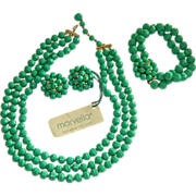 "Stunning Estate Jewelry, Marvella ""Neo-Jade"" Three Piece Suite Original TAgs"