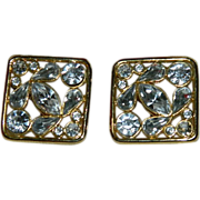 Bold Shining Nordstrom Bezel Set Crystal Earrings ~ Runway Worthy!
