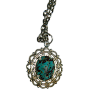 Gorgeous Hand Made Kingman Turquoise Cab Charm Pendant
