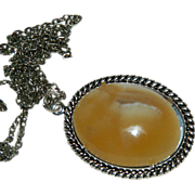 Hand Made Rare Utah Orange Onyx Cab Pendant Sterling Silver