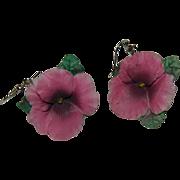 Pretty Vintage Porcelain Pink Posy Earrings