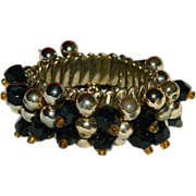Smashing 1940's Cha Cha Expansion Bracelet in Gold & Black