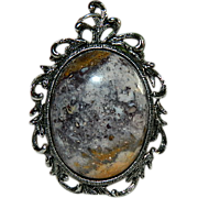Unique Indian Blanket Jasper Picture Frame Pendant ~ Hand Made - Red Tag Sale Item
