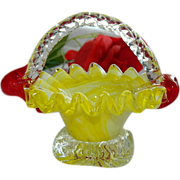 Sunshine Yellow White Swirled Art Glass Basket ~ Ring Holder