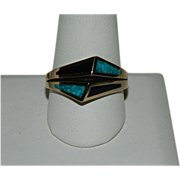 Vintage Men's Turquoise & Jet Abstract Ring Sz 13