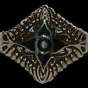 Vintage Vermeil Jet Filigree Starburst Ring sz 8