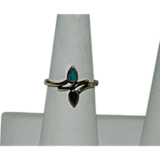 Vintage Turquoise Jet Double Drop Ring Vermeil sz 8