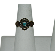 Vintage Maltese Cross Turquoise Ring ~ Gold Wash over Brass sz 8