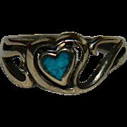Vintage Vermeil Turquoise Cut Out Heart Ring sz 5