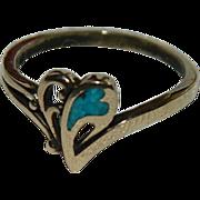 New Old Stock Vermeil & Turquoise Heart Splash Ring sz 8