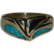 New Old Stock Modernist Vermeil Turquoise & Jet Ring sz 8