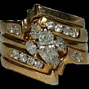 Glorious 1.10 ct Diamond 14K Yellow Gold 4 Band Engagement ~ Wedding Band ca 1987 sz 5.5