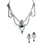 Hollywood Glam Vintage Emerald, Peridot, Clear Rhinestone Masterpiece Parure!