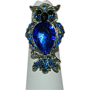 Glamorous Royal Blue Rhinestone Owl Ring ~ Adjustable.