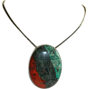 One of a Kind Sonora Sunrise Chrysocolla Slider Pendant in Sterling Silver