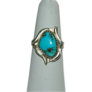 One of a Kind Campitos Turquoise Sterling Silver Ring sz 7