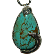 Impressive Huge Number 8 Turquoise Feather Pendant ~ Hand Made One of a Kind