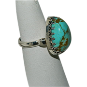 Stunning Oversized Pear Shaped No 8 Turquoise Stone Ring ~ Sterling sz 7.25