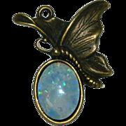 Fiery Colorful Faux Opal Butterfly Pendant Bronze Cast
