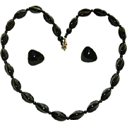 1940's Jet Black Glass Modernist Beaded Necklace & Earring Set