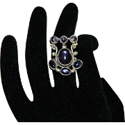 Arts & Crafts Style Amethyst Sterling Modernist Ring sz 7