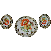 West Germany Sugar Stone Floral Spray Brooch & Earring Set