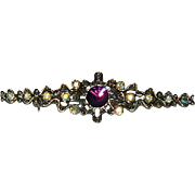 Glamorous Purple AB Rhinestone Bar Brooch