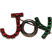 "Vintage Rhinestone Christmas ""JOY"" Brooch"